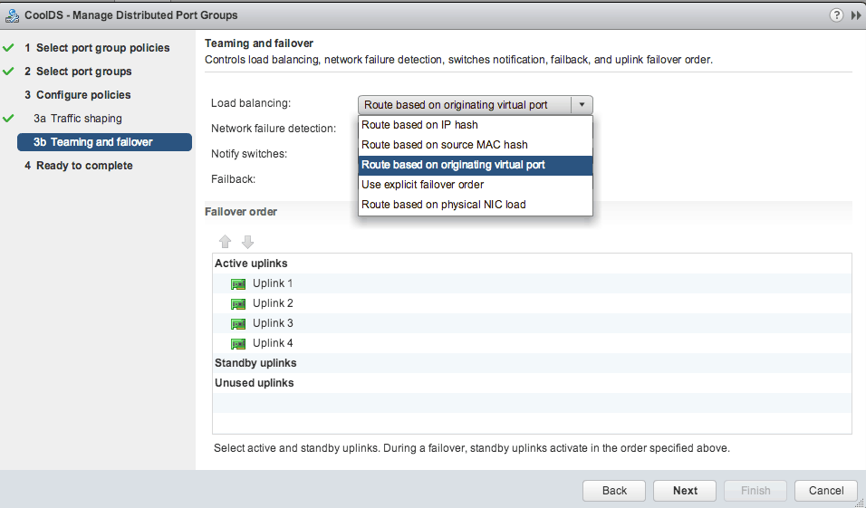 vmware vsphere distributed virtual switch teaming options