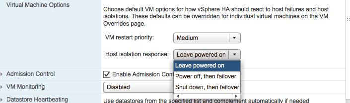 vmware vsphere high availability host isolation response