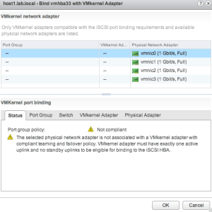 vmware vsphere iscsi port binding