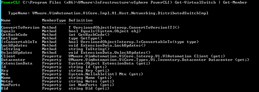 powercli get virtualswitch get member information vmware vsphere