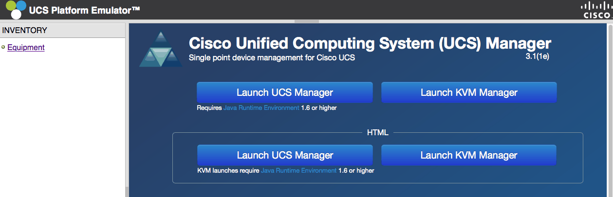 cisco ucs emulator launch ucs manager ucspe platform