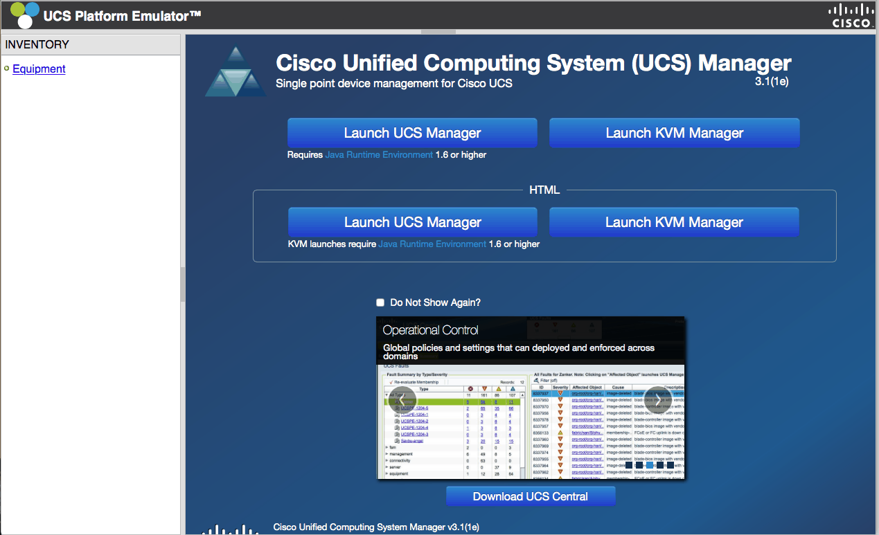 cisco ucs emulator main screen ucspe platform