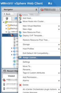 assign vSAN license vSphere Web Client