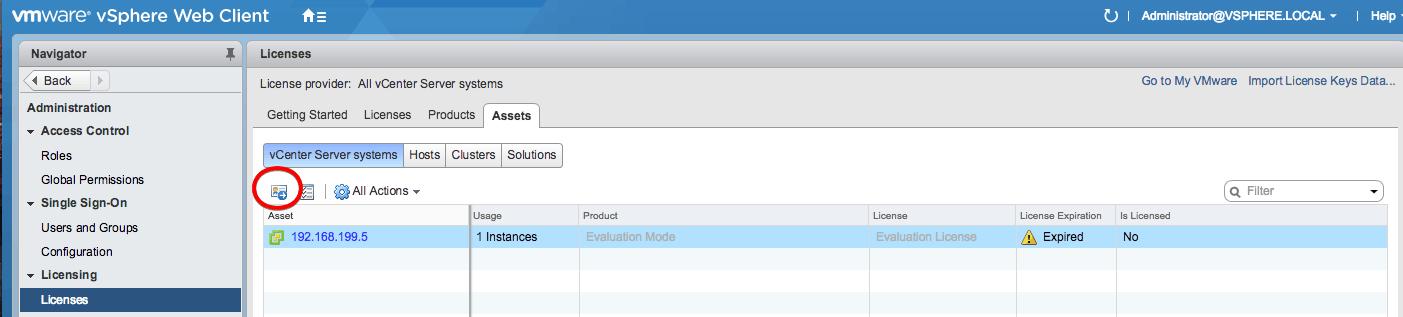 vmware vcenter vsphere license assign web client