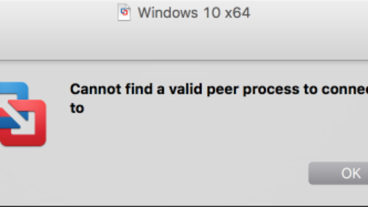 The VMware Fusion Post: Fix Cannot Find a Valid Peer Process To