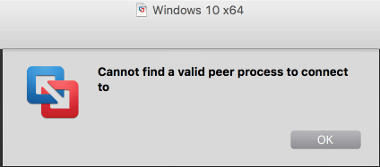 vmware fusion cannot find valid peer process to connect to