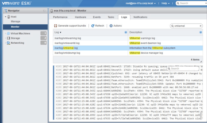 vmware sphere host client log browser html5 esxi
