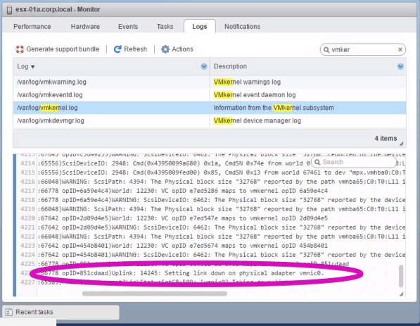 VMware vSphere host client html5 vmkernel link down