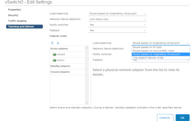 VMware vsphere networking teaming and failover options 6.5