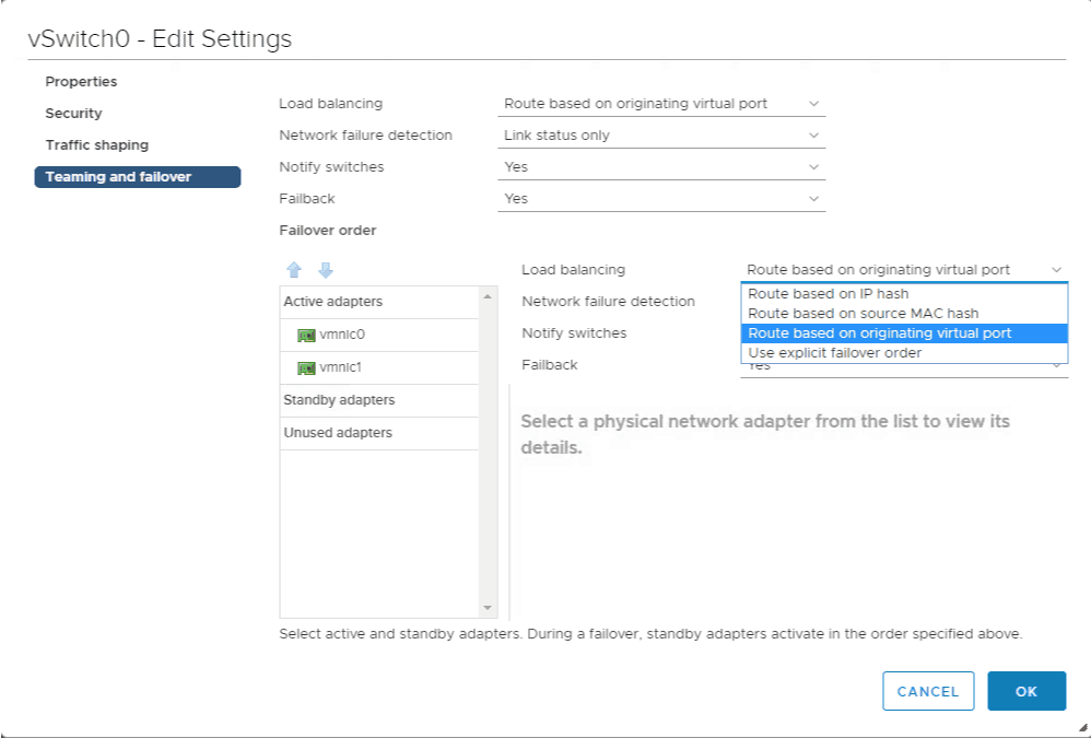 VMware vSphere 6.5 networking teaming and failover options 6.5