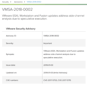 VMware vSphere security advisory