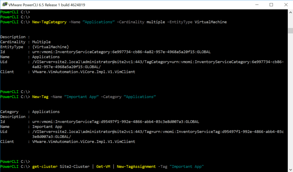 vsphere create tags categories powercli vmware