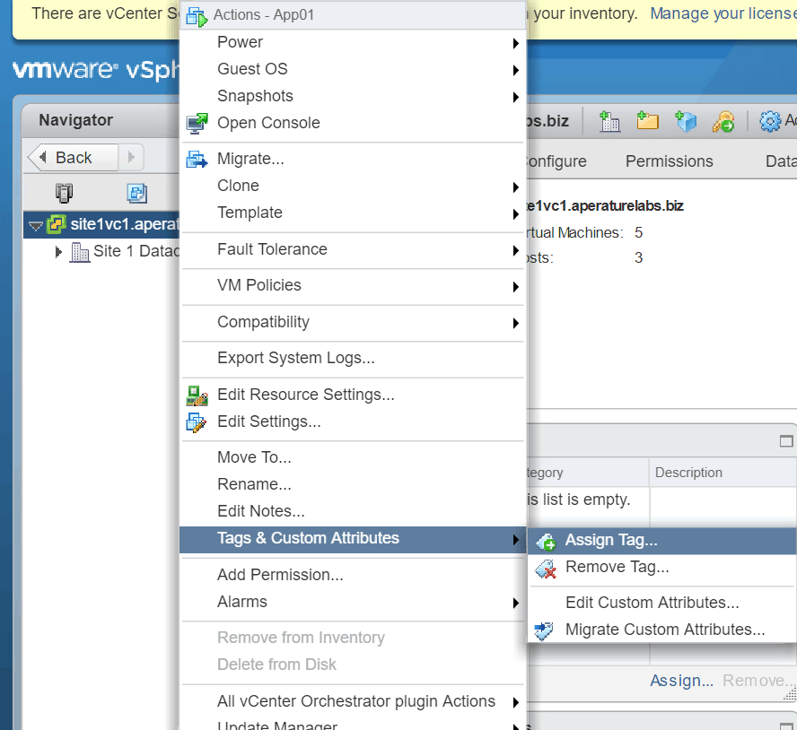 vsphere tag assign tag VMware web client