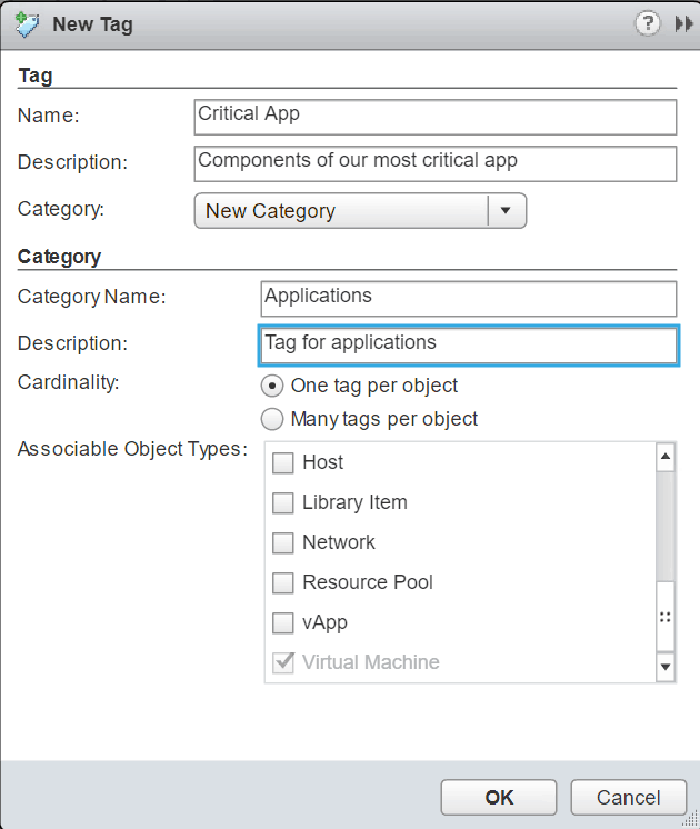 vsphere tag create category VMware web client
