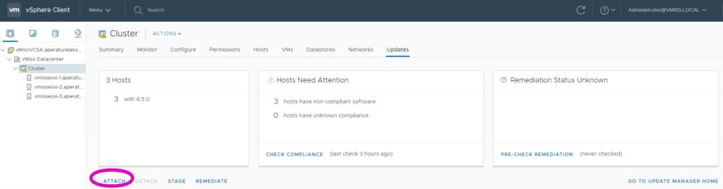 VMware vSphere Update Manager attach host upgrade baseline