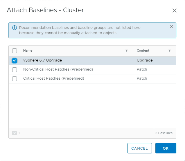 VMware Update Manager 6.7 attach host upgrade baseline to cluster