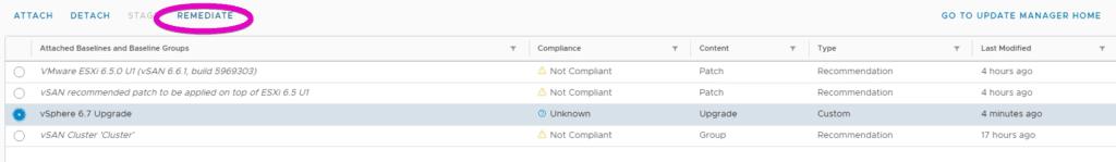 VMware vSphere 6.7 Update Manager Remediate Host