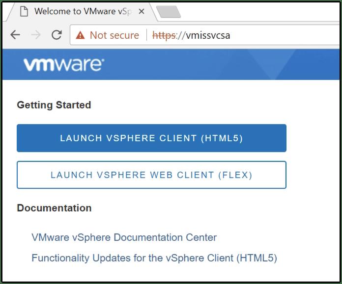 vsphere 6.7 choose client type VMware