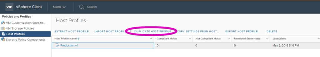 duplicate host profile VMware vsphere