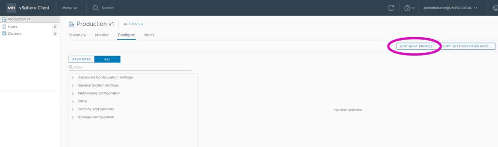 edit VMware vsphere host profile