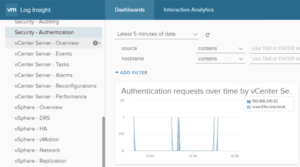 VMware log insight dashboard security realize vsphere