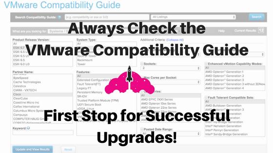 VMware compatibility guide matrix upgrade vsphere