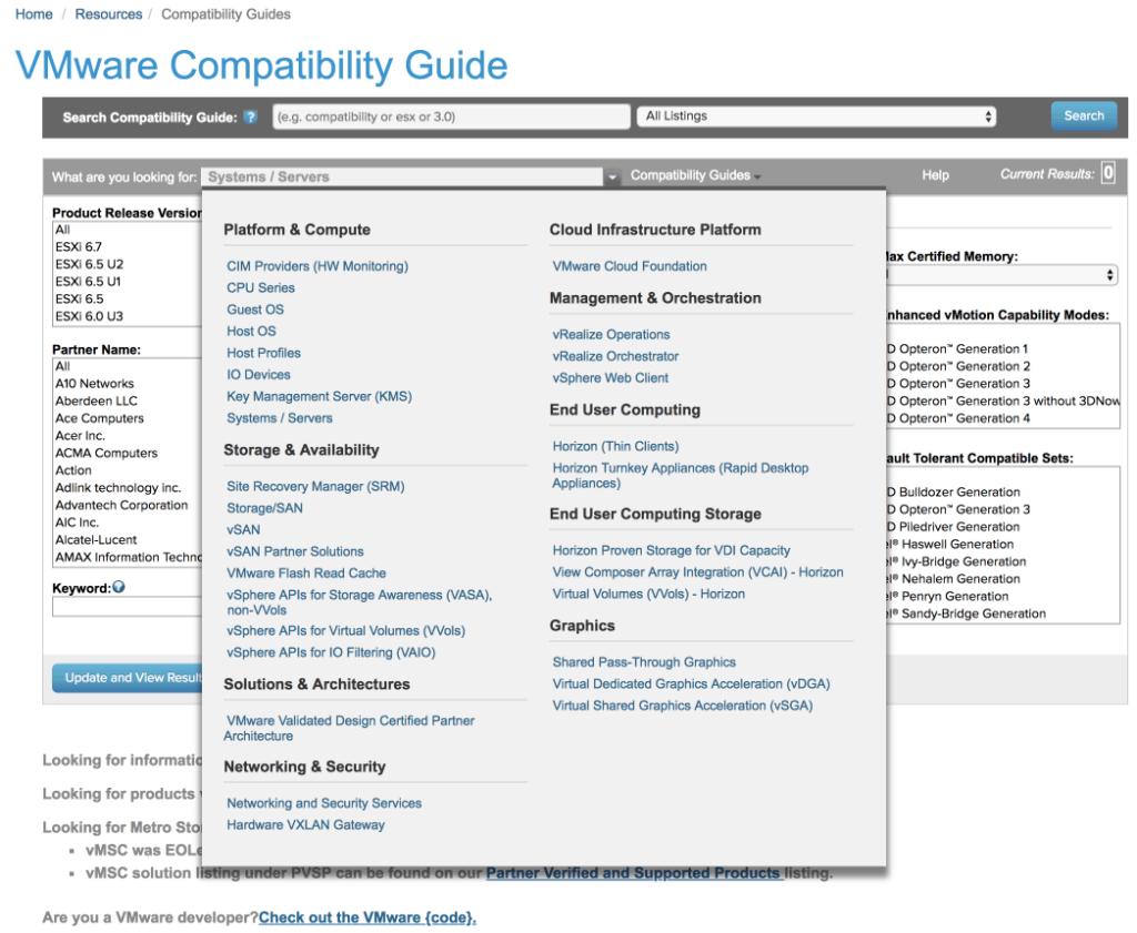 VMware compatibility matrix guide