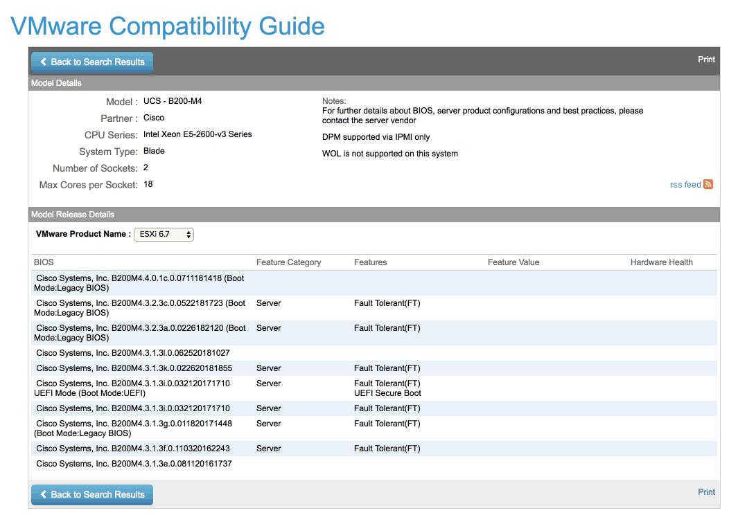 VMware compatibility matrix Cisco ucs b200 m4 vsphere 6.7
