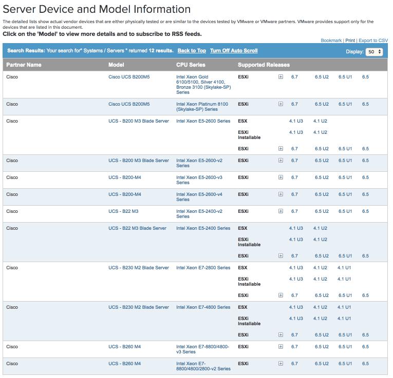 vmware computability matrix cisco ucs models supported vsphere 6.7