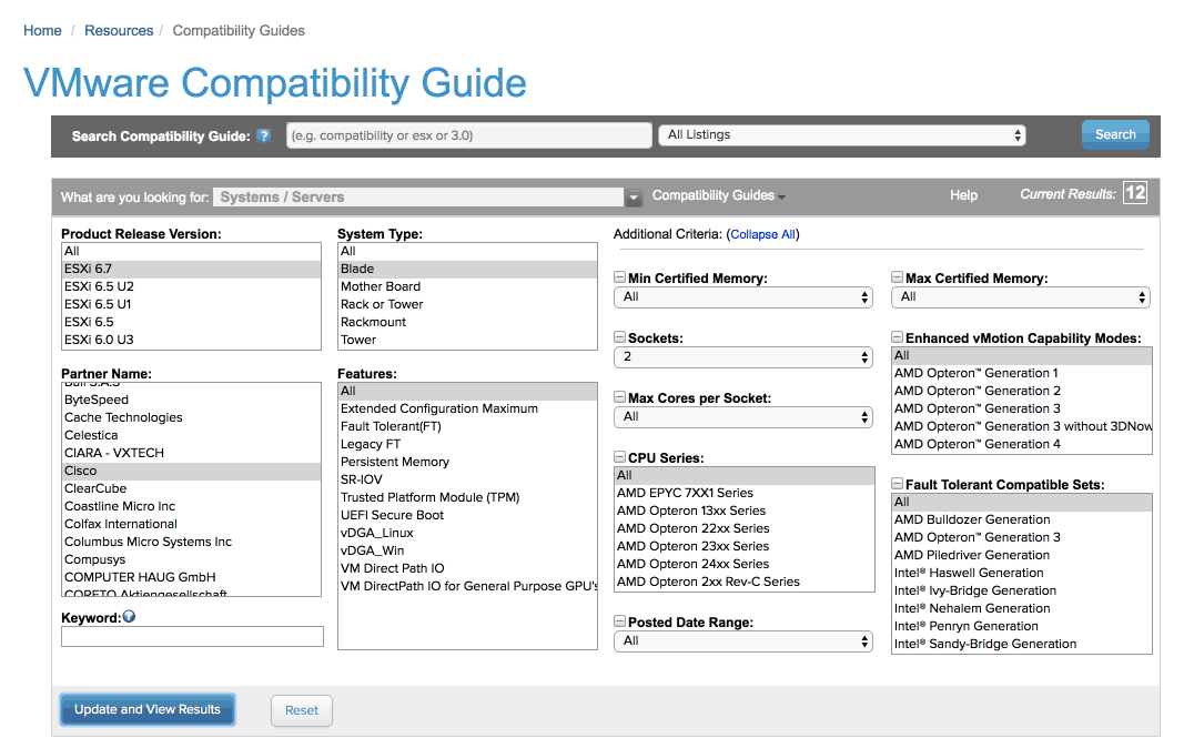 Using the VMware Compatibility Guide and Matrix | vMiss net