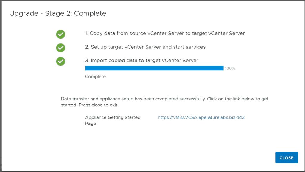 VMware vcsa upgrade installer stage 2 complete vsphere 6.7 u1