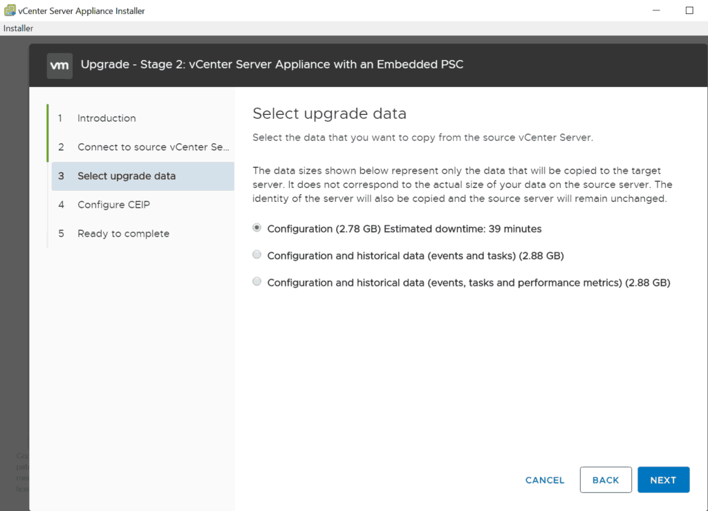 vcsa upgrade installer stage 2 data selection