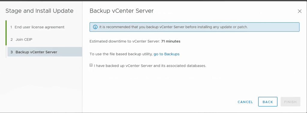 VMware vcsa web management backup upgrade vsphere 6.7 u1