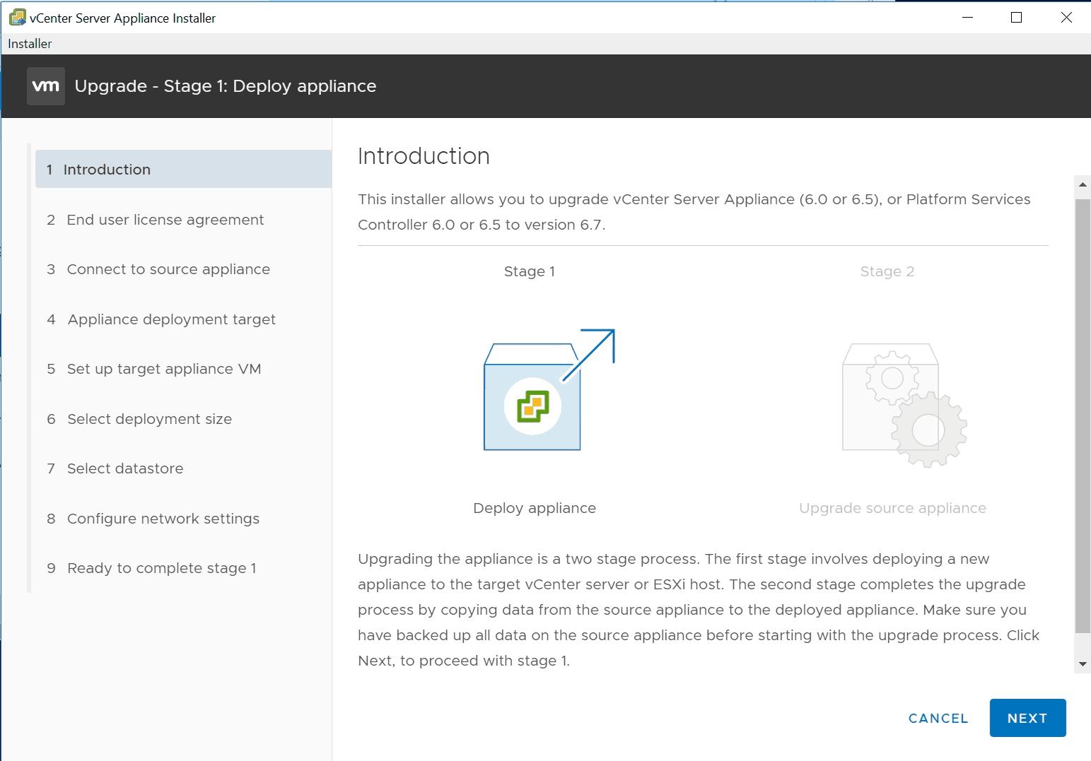 vmware vcsa installer upgrade vsphere 6.7