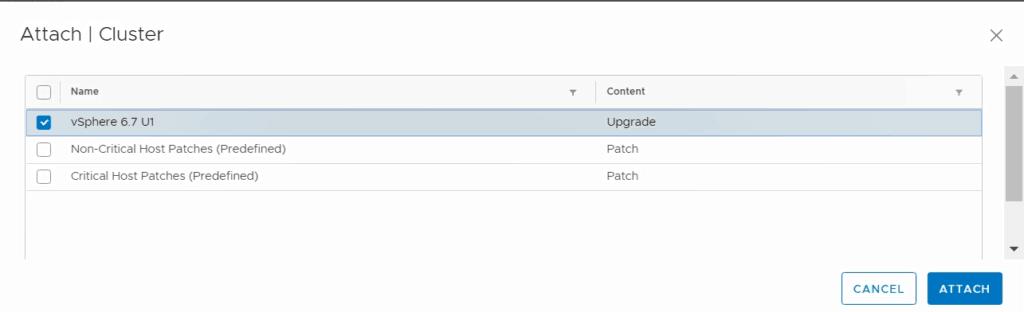 VMware vSphere update manager attach new ESXi 6.7 U1 baseline