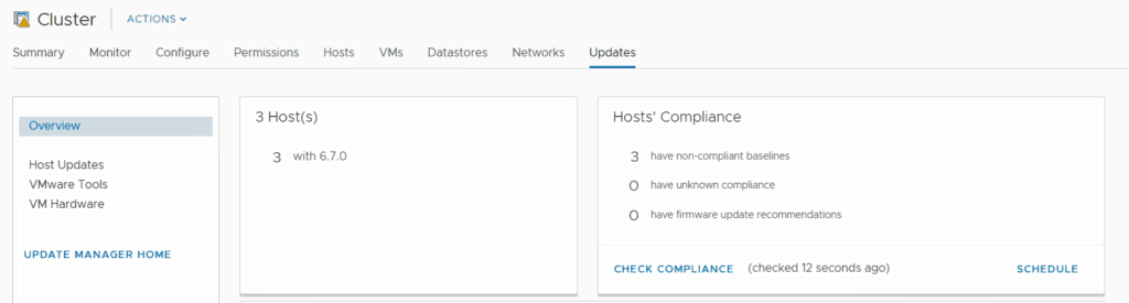 VMware vSphere update manager check compliance esxi