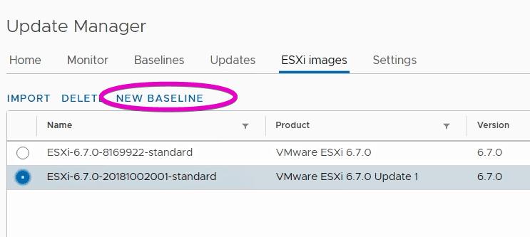 VMware vSphere update manager new host baseline esxi 6.7 u1
