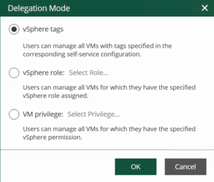 veeam 9.5 update 4 VMware vSphere RBAC self service enterprise manager