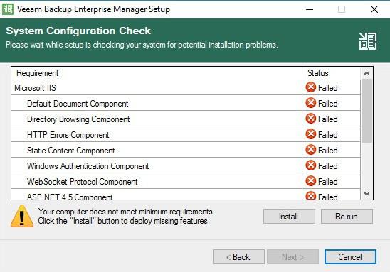 veeam enterprise manager configuration check