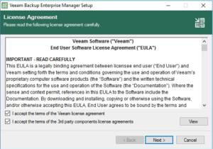 veeam enterprise manager Eula