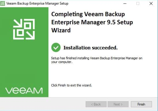 veeam enterprise manager installation complete