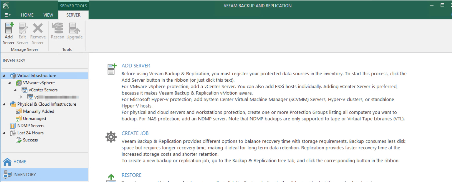 veeam backup and replication add center