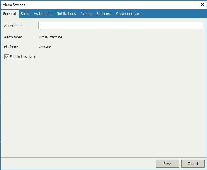 Veeam ONE custom alarm settings