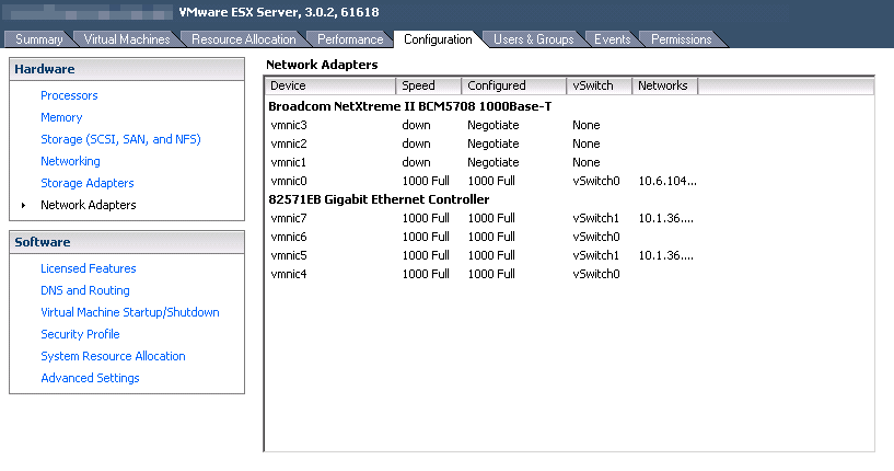 early vmware esx networking