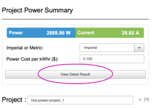 Cisco UCS power calculator detailed results