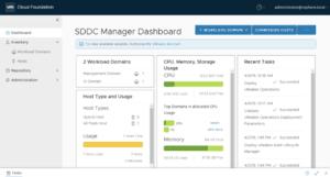 SDDC Manager login dashboard VMware Cloud Foundation
