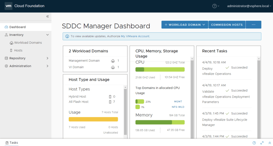 SDDC Manager login dashboard VMware Cloud Foundation