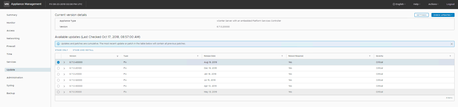 upgrade vcsa 6.7 u3