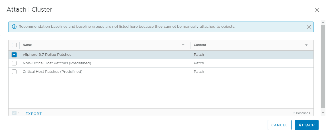 esxi patch baseline attached to vSphere cluster
