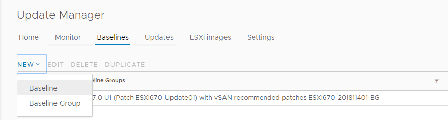 new update manager baseline for vmware esxi patches